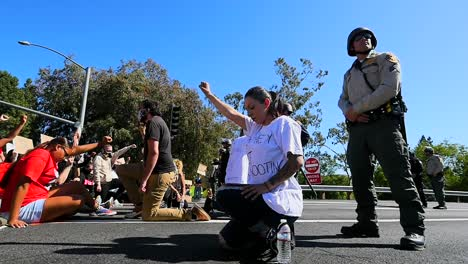 Extreme-Slo-Mo-Protesters-Chanting-And-Standing-Off-With-Police-And-National-Guard-During-A-Black-Lives-Matter-Blm-Parade-In-Ventura-California-7