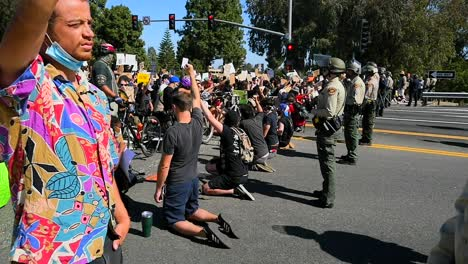 Extreme-Slo-Mo-Protesters-Chanting-And-Standing-Off-With-Police-And-National-Guard-During-A-Black-Lives-Matter-Blm-Parade-In-Ventura-California-8