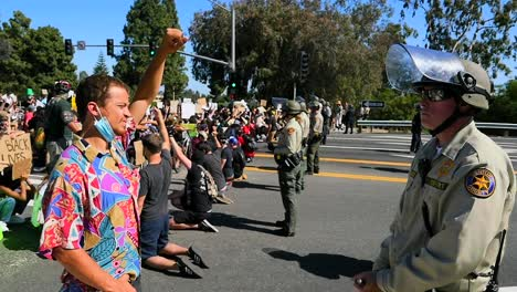 Extreme-Slo-Mo-Protesters-Chanting-And-Standing-Off-With-Police-And-National-Guard-During-A-Black-Lives-Matter-Blm-Parade-In-Ventura-California-9