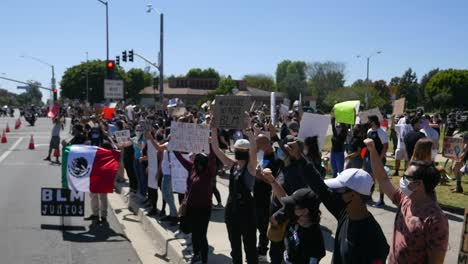 Extreme-Slo-Mo-Protesters-Chanting-Mexican-Flag-Visible-During-A-Black-Lives-Matter-Blm-Parade-In-Ventura-California
