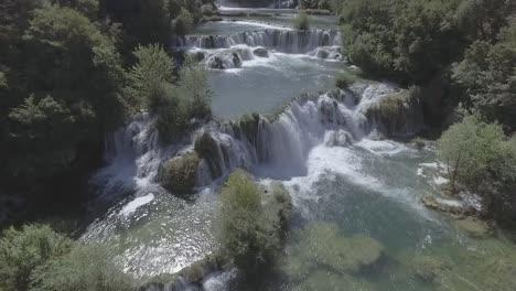 Beautiful-Drone-Aerial-Over-Krka-Waterfalls-In-Croatia