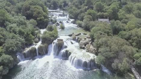 Beautiful-Drone-Aerial-Over-Krka-Waterfalls-In-Croatia-1