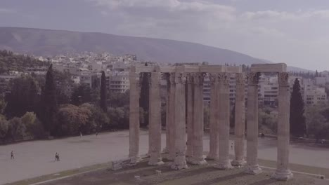 Good-Drone-Aerial-Shot-Of-Greek-Architecture-And-Columns-In-Athens-Greece