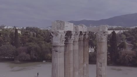 Good-Drone-Aerial-Shot-Of-Greek-Architecture-And-Columns-In-Athens-Greece-1