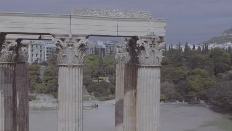 Aerial-Shot-Of-Greek-Architecture-And-Columns-In-Athens-Greece-2