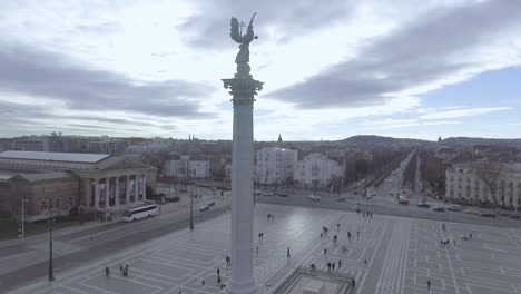Beautiful-Aerial-Of-Heros-Square-In-Budapest-Hungary-2