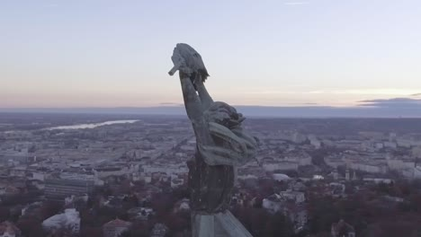 Beautiful-Aerial-Of-The-Liberty-Statue-And-Cityscape-Of-Budapest-Hungary-1