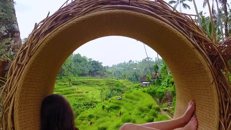 Beautiful-Shot-Of-A-Female-Model-Posing-With-Rice-Paddies-Of-Bali-Indonesia-In-Background