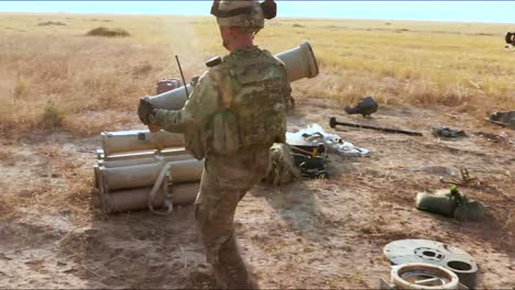 Artillery-And-Communications-Equipment-Are-Set-Up-By-American-Soldiers-Stationed-In-Punjiha-Iraq