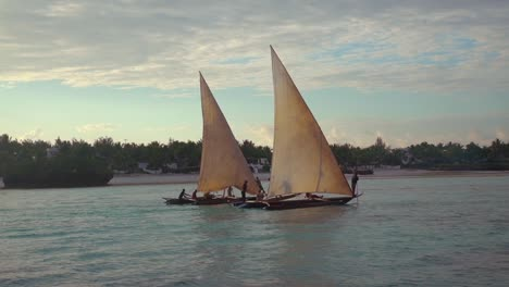Exotic-And-Beautiful-Dhow-Sailboats-Sail-On-A-River-Or-The-Ocean-In-Zanzibar-Tanzania-Africa