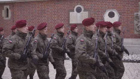 Military-Troops-And-Soldiers-March-On-The-Streets-Of-Krakow-Poland