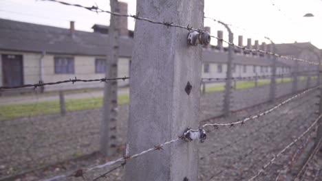 Pan-Along-Barbed-Wire-At-Auschwitzbirkenau-Nazi-Concentration-Camp-Poland