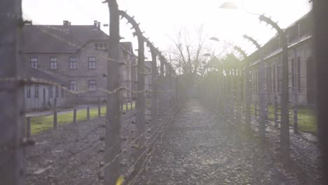 Pan-Along-Barbed-Wire-At-Auschwitzbirkenau-Nazi-Concentration-Camp-Poland-1