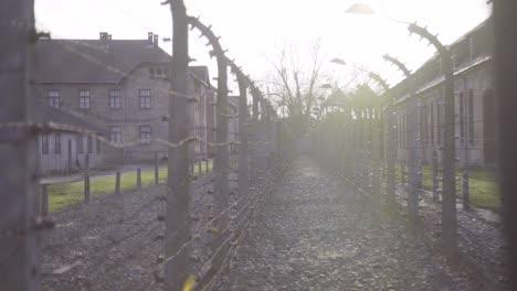 Pan-A-Lo-Largo-De-Alambre-De-Púas-En-El-Campo-De-Concentración-Nazi-De-Auschwitzbirkenau-Polonia-1