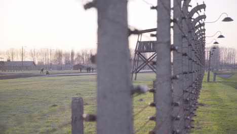 Pan-Along-Barbed-Wire-At-Auschwitzbirkenau-Nazi-Concentration-Camp-Poland-2