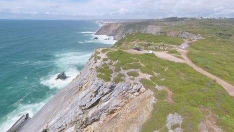 Antenne-In-Der-Region-Der-Felsenhöhle-Entlang-Der-Atlantikküste-Portugals-1
