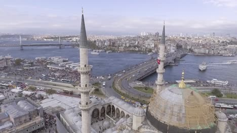 Beautiful-Aerial-Through-Spires-Of-Mosque-Reveals-Bosphorus-River-And-The-City-Of-Istanbul-Turkey