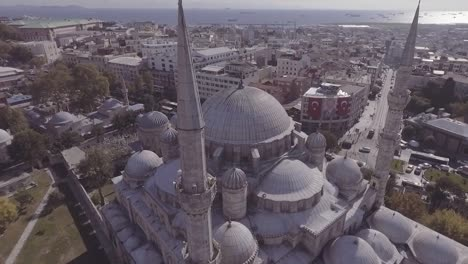 Beautiful-Aerial-Around-Spires-Of-Mosque-Reveals-Bosphorus-River-And-The-City-Of-Istanbul-Turkey