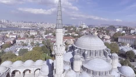 Beautiful-Aerial-Around-Spires-Of-Mosque-Reveals-Bosphorus-River-And-The-City-Of-Istanbul-Turkey-1