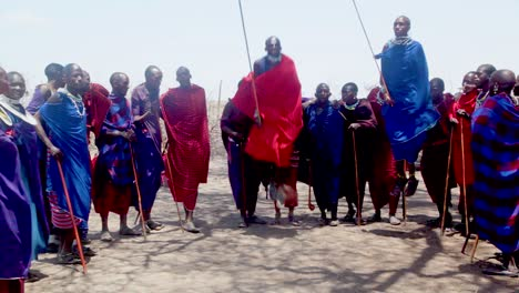 Masai-warrior-men-engage-in-a-traditional-tribal-dance-by-jumping-up-and-down-with-spears-Tanzania