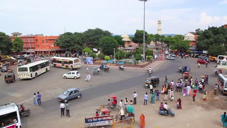 A-high-angle-of-a-busy-street-scene-in-Rajasthan-India