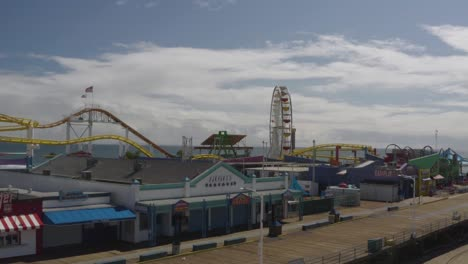 Aerial-Of-Abandoned-Closed-Santa-Monica-Pier-During-Covid19-Corona-Virus-Outbreak-Epidemic