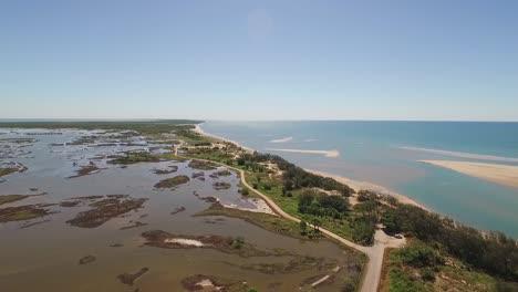 An-aerial-view-shows-the-beaches-of-Alva-in-Queensland-Australia