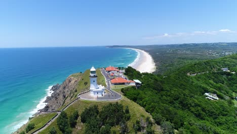 An-aerial-view-shows-the-Cape-Byron-Lighthouse-in-New-South-Wales-Australia