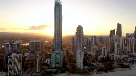 The-skyline-of-Surfers-Paradise-a-seaside-resort-in-Queensland-Australia-is-seen-at-sunset