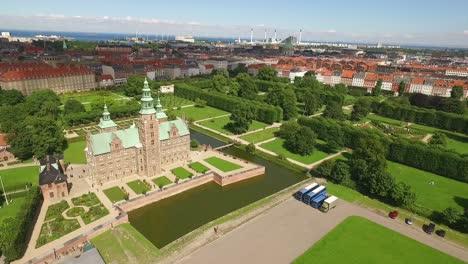 An-aerial-view-shows-Rosenborg-Castle-in-Copenhagen-Denmark
