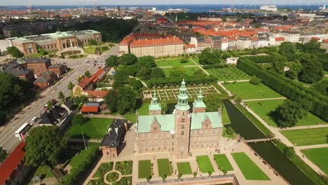 An-aerial-view-shows-Rosenborg-Castle-and-the-National-Gallery-of-Denmark-behind-it-in-Copenhagen-Denmark