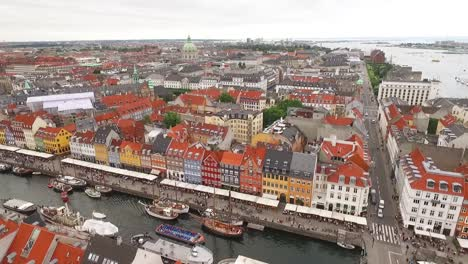 An-aerial-view-shows-the-cityscape-bordering-the-Nyhavn-canal-in-Copenhagen-Denmark-including-a-view-of-Frederik-s-Church
