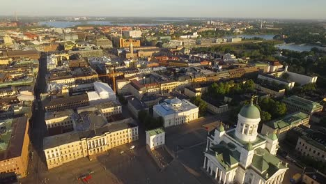 An-aerial-view-shows-the-Helsinki-Cathedral-nestled-in-the-city-of-Helsinki-Finland