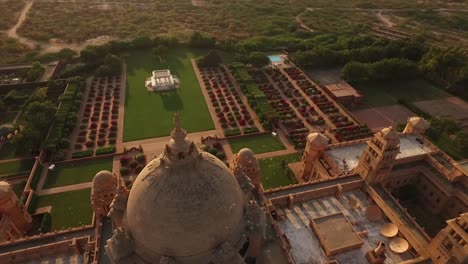 An-aerial-view-shows-birds-flying-over-the-Umaid-Bhawan-Palace-in-Jodhpur-India