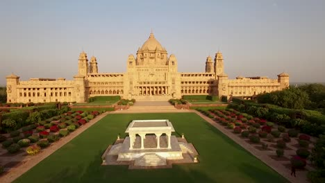 An-aerial-view-shows-the-Umaid-Bhawan-Palace-and-its-grounds-in-Jodhpur-India-with-special-focus-on-its-trees