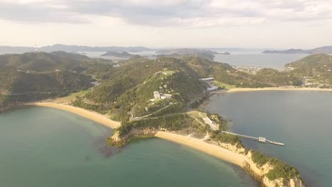An-aerial-view-shows-the-coastline-of-Naoshima-Island-in-Japan