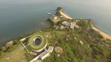 An-aerial-view-shows-the-Benesse-House-on-Naoshima-Island-in-Japan