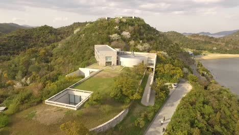 An-aerial-view-shows-the-Chichu-Art-Museum-on-Naoshima-Island-in-Japan