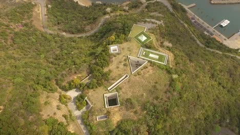A-bird-seyeview-shows-the-Chichu-Art-Museum-on-Naoshima-Island-in-Japan