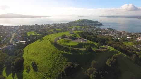 An-aerial-view-shows-Mount-Victoria-in-Auckland-New-Zealand