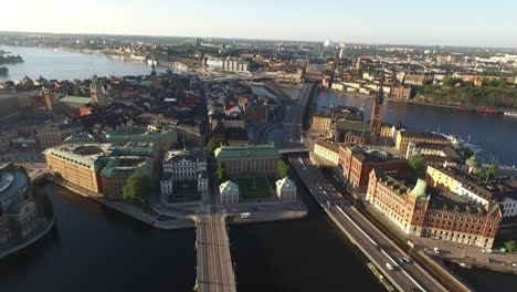 An-aerial-view-shows-traffic-driving-on-the-Riksgatan-in-Stockholm-Sweden-passing-buildings