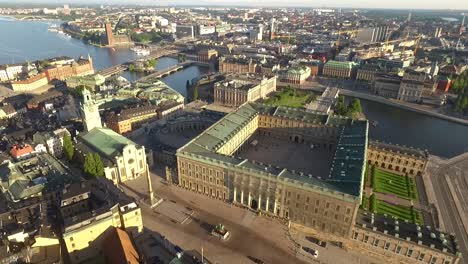 An-aerial-view-shows-the-Royal-Palace-in-Stockholm-Sweden