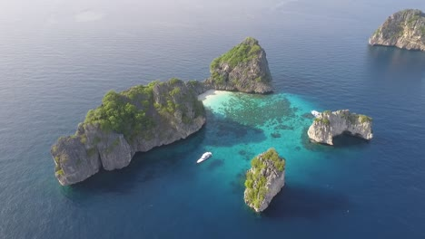 An-aerial-view-shows-boats-by-the-Koh-Haa-islands-of-Thailand-1