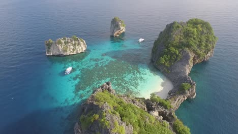 An-aerial-view-shows-boats-by-the-Koh-Haa-islands-of-Thailand-3