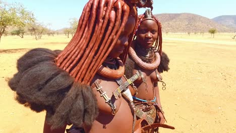Two-young-Himba-tribal-women-show-off-their-mud-hair-extensions-and-unusual-braided-dreadlocked-hairstyles