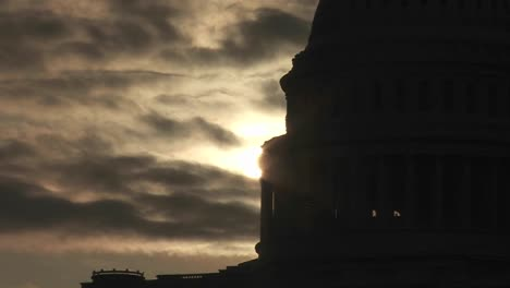 A-zoom-out-from-the-Capitol-Building-in-Washington-DC-in-silhouette