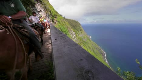 People-ride-horses-along-a-narrow-trail-in-Hawaii