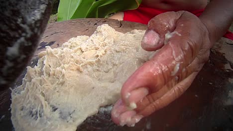 Poi-paste-is-ground-on-a-pestle-ion-hawaii-3