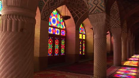 Sun-shines-through-stained-glass-windows-inside-the-Nasir-Molk-Mosque-in-Shriaz-Iran-1