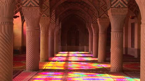 Sun-shines-through-stained-glass-windows-inside-the-Nasir-Molk-Mosque-in-Shriaz-Iran-2